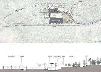 Arkitektritad bildmall situationsplan molnbydepån