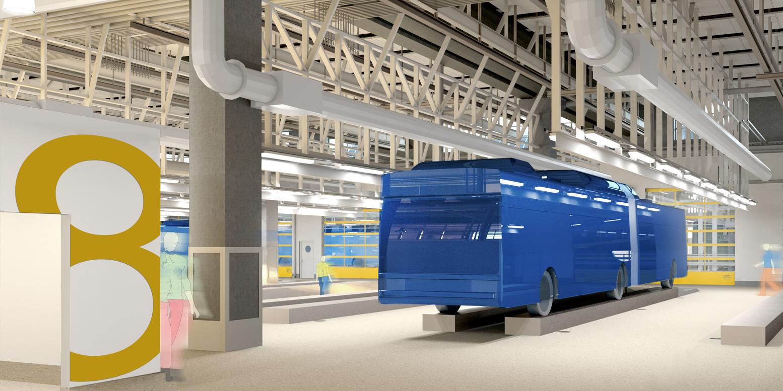 Arkitektritad bild på bussverkstaden i Tomteboda bussdepå