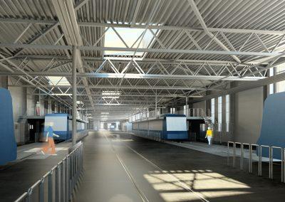 Arkitektritad bild på drifthallens serviceplats i spårvagnsdepån Ringön